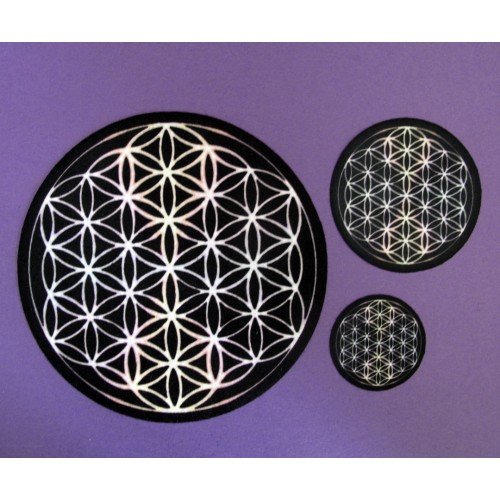 Black and Cosmic White, Flower of Life Set of 3